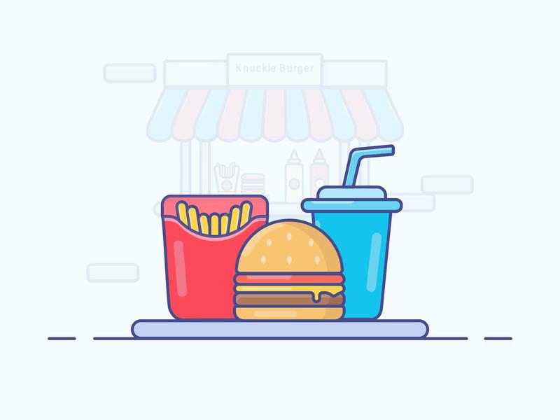 Burger Meal fries burger gradient food icon logo minimal illustrator vector illustration design