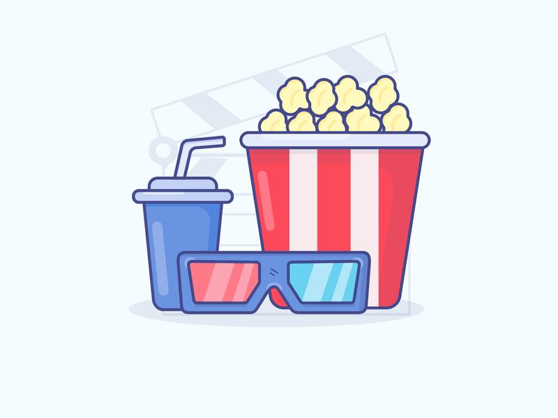 Cinema Snack cinema food icon logo minimal illustrator vector illustration design