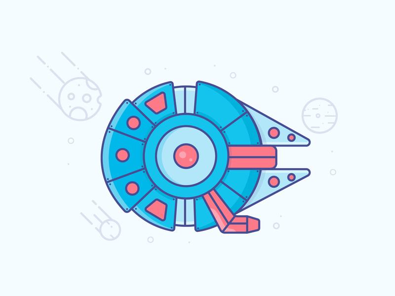 Millennium Falcon space star wars starwars millennium falcon icon logo minimal illustrator vector illustration design