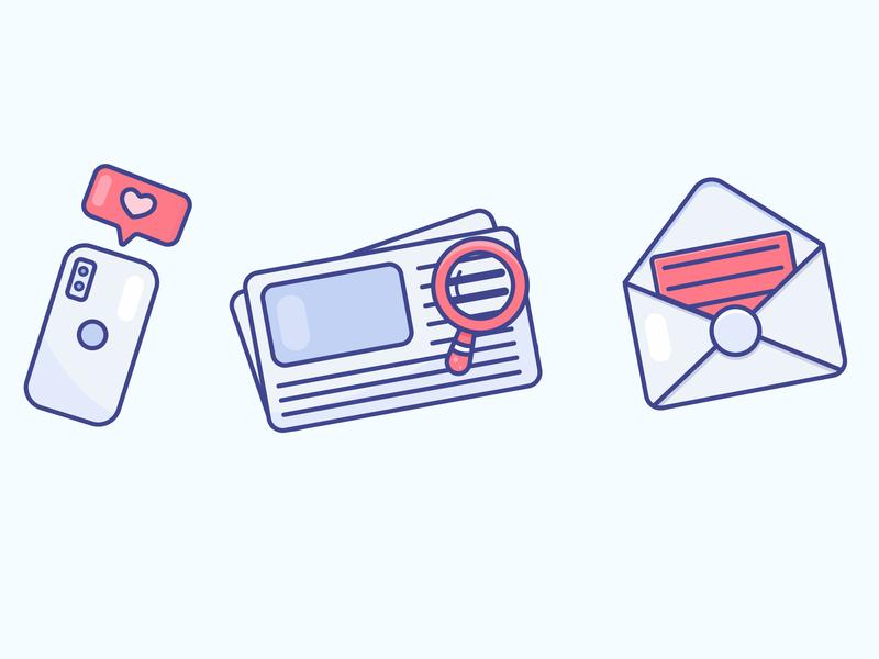 Icons newspaper phone letter gradient icon logo minimal illustrator vector illustration design