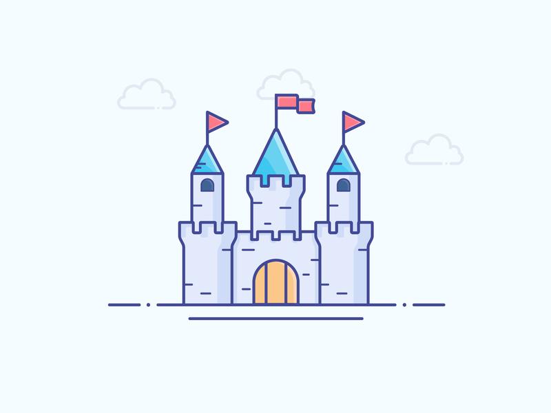 Castle castle gradient icon logo minimal illustrator vector illustration design
