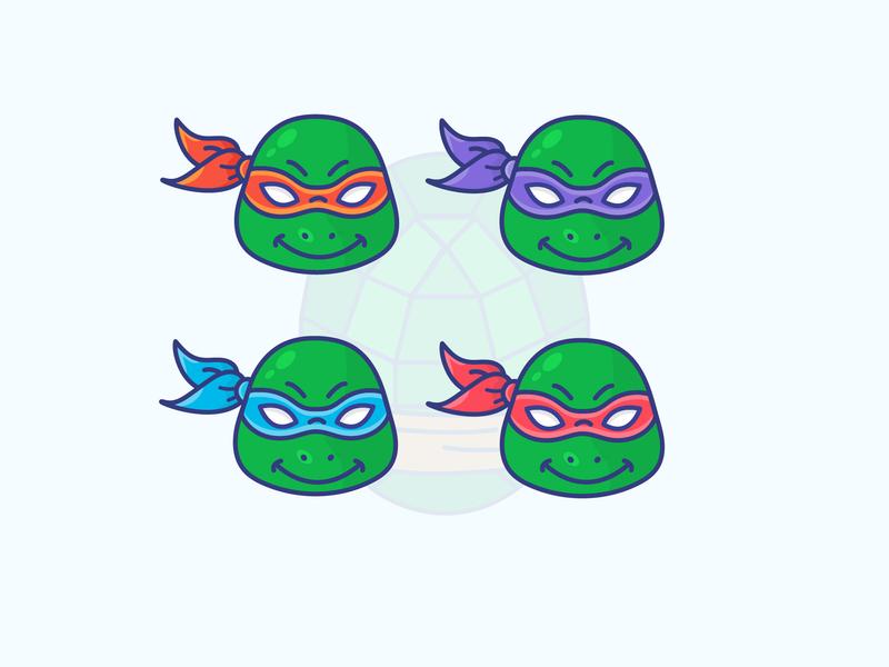 Ninja Turtles ninja turtles gradient icon logo minimal illustrator vector illustration design