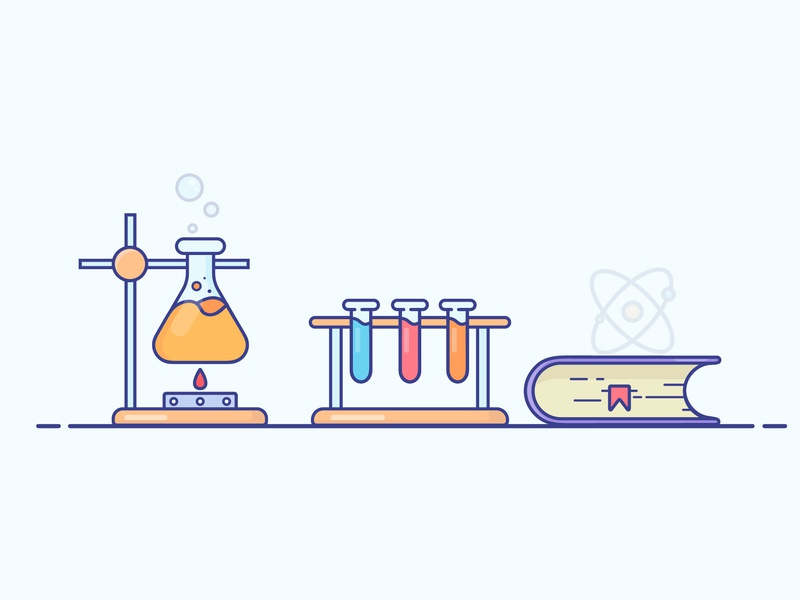 Chemical Lab reactions book cover chemical chemistry lab gradient icon logo minimal illustrator vector illustration design