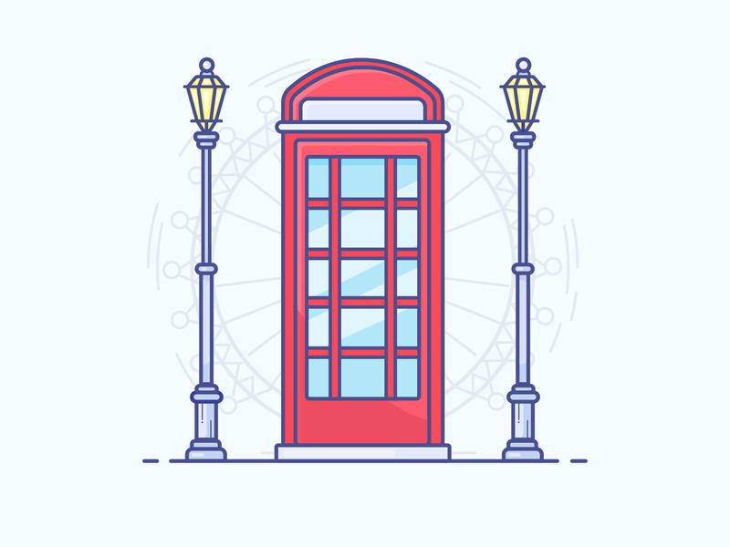 Telephone Booth telephone booth united kingdom london eye uk london booth telephone gradient icon logo minimal illustrator vector illustration design