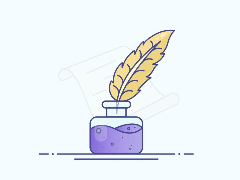 Ink & Feather Pen ink pen paper feather ink pen gradient icon logo minimal illustrator vector illustration design