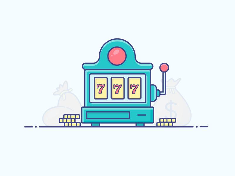 Slot Machine casino money slot machine gradient icon logo minimal illustrator vector illustration design