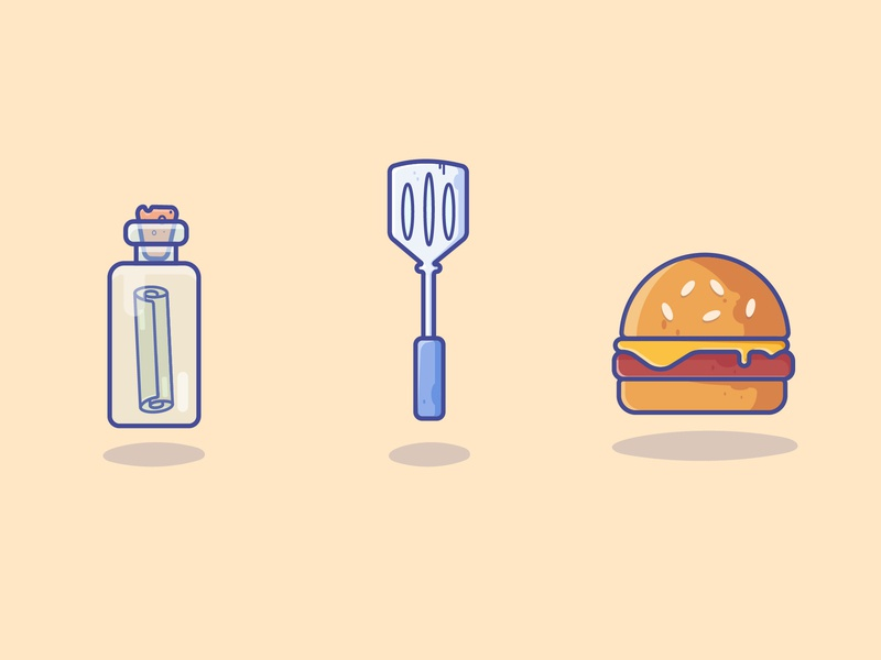 Spongebob's Recipe recipe burger spongebob gradient icon logo minimal illustrator vector illustration design