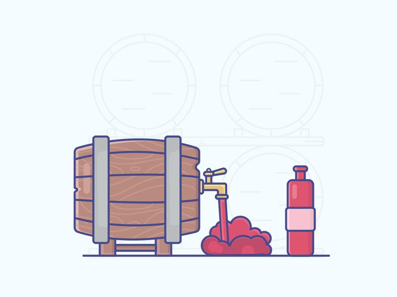 Barrel Of Wine red wine barrel wine gradient icon logo minimal illustrator vector illustration design