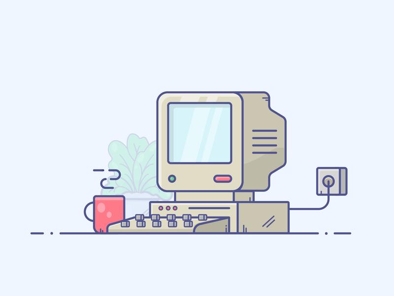 Old Computer computer classic old computer gradient icon minimal illustrator vector illustration design