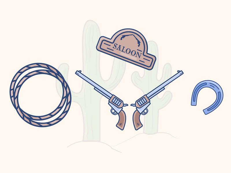 Wild West guns wild west gradient icon illustrator vector illustration design