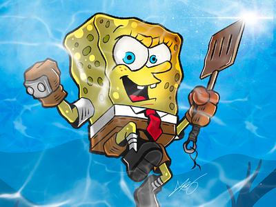 Spongebob the Warrior doodle spongebob squarepants procreate ipad pro artist art cartoon drawing draw illustration spongebob