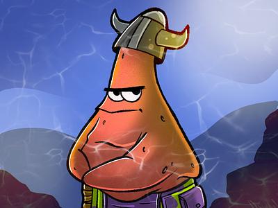 Patrick the Viking procreate ipad pro illustration artwork cartoon art drawing draw doodle sketch spongebob spongebob squarepants patrick star