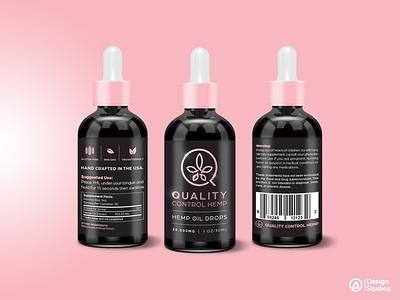 Quality Control Hemp label design package design product design tinctures hemp oil drops hemp oil brand identity vector design illustrator graphic artist logo illustration branding graphic design