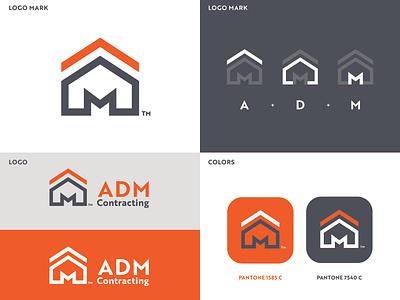 ADM CONTRACTING logo mark house logo construction logo logo design brand vector design graphic artist illustrator logo illustration branding graphic design