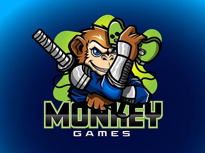Monkey Games eSports Logo esports artist adobe logo design vector graphic artist illustrator logo illustration branding graphic design