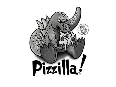 Pizzilla comic drawing draw doodle sketch procreate artist art pizza godzilla graphic artist illustration