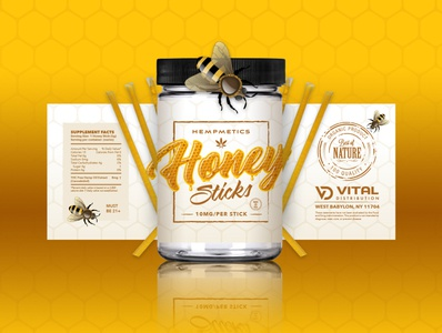 Hempmetics Honey Sticks Label Design