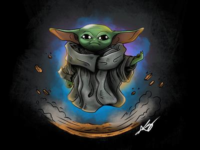 Baby Yoda master yoda disney plus mandalorian disney baby yoda yoda star wars illustration draw drawing sketch