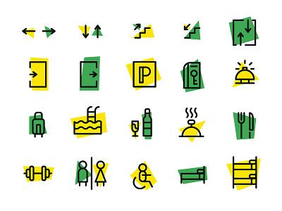 Hotel Pictograms minimalistic design green yellow hotel logo signs hotel pictograph pictogram