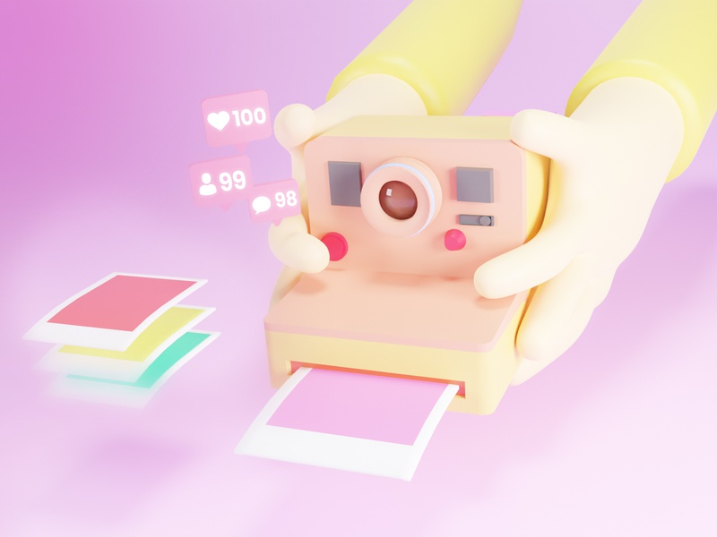 Polaroid 3D camera ui 3d modeling illustration design 3d