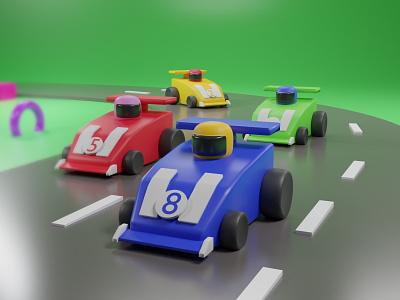 3D Racing Car - Low Poly 3d modeling ui design 3d