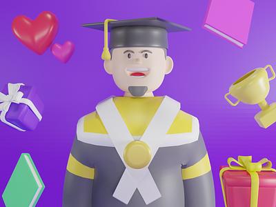 Bachelor Graduation branding 3d modeling 3d artist design 3d