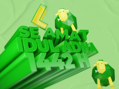 Eid Al-Adha Mubarak Typographic illustration 3d artist 3d modeling design 3d