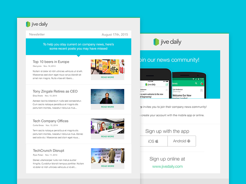 jive daily newsletter and invite email template by spenser lea