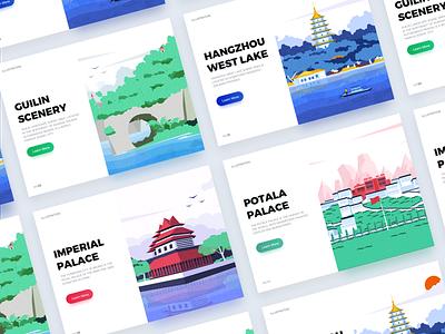 Landscape system illustration collection web ux ui design illustration