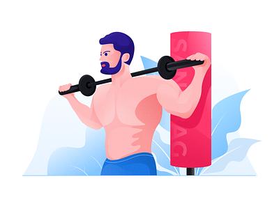 Fitness illustration illustrator app ui design illustration