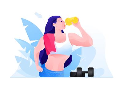 Woman replenishing energy icon web illustrator design ui illustration