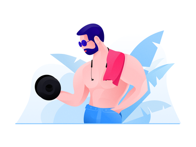 Showing off muscular man app design illustrator web animation illustration