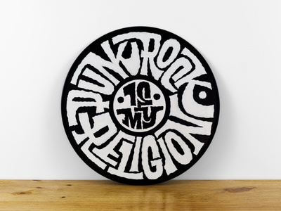 Punk Rock Is My Religion punk rock hand lettering interlock hand painted record vinyl sign painting signpainting handlettering lettering