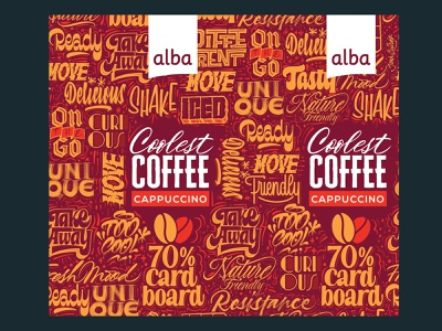 Alba Coolest Coffee procreate brushlettering pattern design take away on the go packaging cappuccino coffee pattern calligraphy handlettering lettering