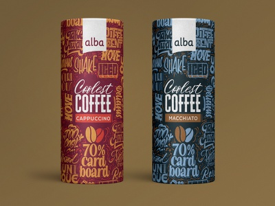 Alba Coolest Coffee procreateapp procreate packaging design macchiato cappuccino coffee pattern packaging blackletter script handlettering calligraphy lettering