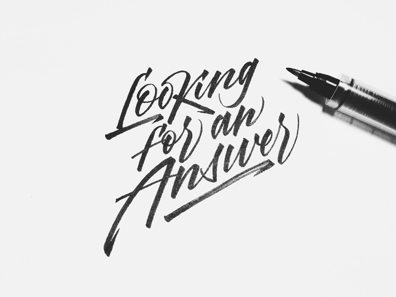 Looking for an Answer calligraphy brushpen brushlettering looking for an answer script rythm logo logotype