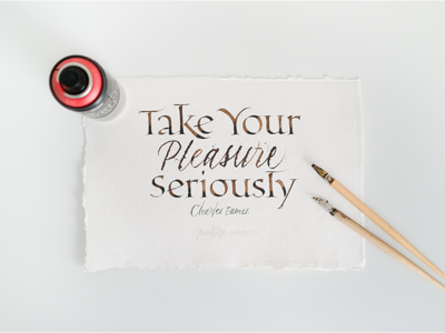 Take Your Pleasure Seriously handmade colapen khadi charles eames humanist calligraphy