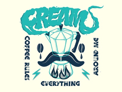 C.R.E.A.M neuland calligraphy beans brew handlettering moka pot lettering illustration coffee cream