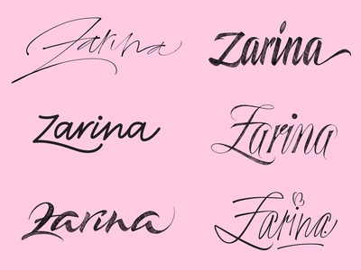 Zarina lettering explorations
