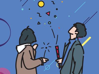 fireworks flat vector illustration