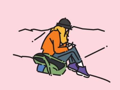 Mountain mountain illust line