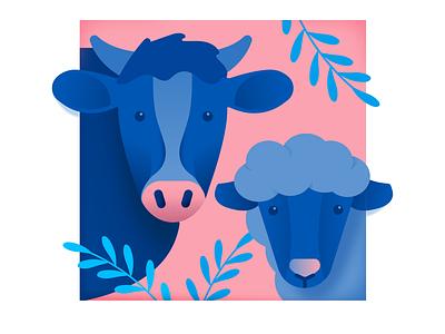 Cow & Sheep farm sheep cow animal vector illustration