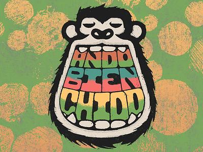 ABC design illustration chill beach reggae dub distressed textures guadalajara mexican mexico gorilla monkey