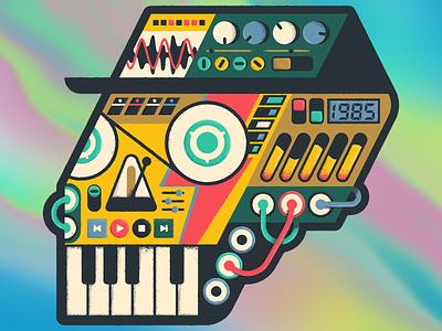 Untitled (Remix) vintage bowie retro rainbow sticker electronic music skull midi synthesizer synth holographic design illustration mexico guadalajara 80s