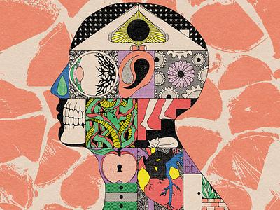 Quarantine 🏠 body parts home house anatomy head distressed textures covid quarantine illustration mexico guadalajara