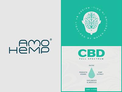Amo Hemp CBD negative space love drops oil hemp cannabis weed head roots branding logo illustration design mexico guadalajara