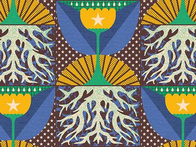 Agüita 💧 grow dub roots rain star flower plant sun stars textures design illustration mexico guadalajara