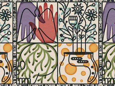 ★ Roots and Culture ★ distressed bold plants reggae dub stars textures design illustration mexico guadalajara