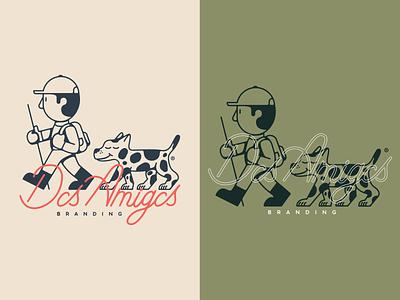 Dos Amigos Branding vector design hiking brand walking custom type amigos firends dog logo branding illustration mexico guadalajara