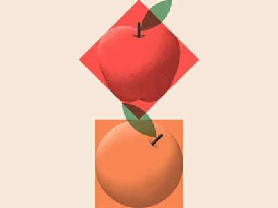 🟧🍊♦️🍎 procreate brush texture noise fruit red minimal square geometry naranja manzana orange apple design illustration mexico guadalajara fruits